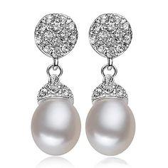 Women's Classic Freshwater Pearl Rhinestone Prevent Allergies Earrings – SEK Kr. 234
