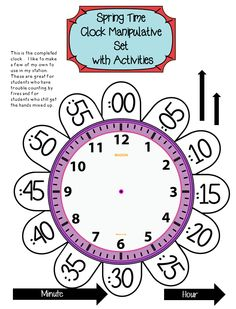 clock printable to help teach how to tell time love this idea first grade educational ideas. Black Bedroom Furniture Sets. Home Design Ideas