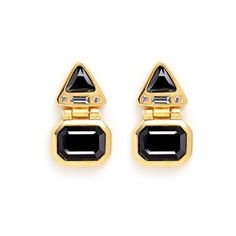 Kenneth Jay Lane Glass stone gold plated hinged drop earrings ($215) ❤ liked on Polyvore featuring jewelry, earrings, black, clear earrings, triangle drop earrings, clear drop earrings, clear crystal drop earrings and clear stud earrings