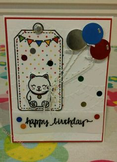 Card by Claire Morrison : Lawn Fawn My Lucky Charm, Birthday Tags, banner from The Sky's the Limit, Lawn Fawn Balloons dies. Birthday banners embossing folder. Sentiment is from Avery Elle So Happy, heat embossed on vellum. Card base is 110lb Neenah Classic Crest Solar White. #LawnFawn #luckycharm