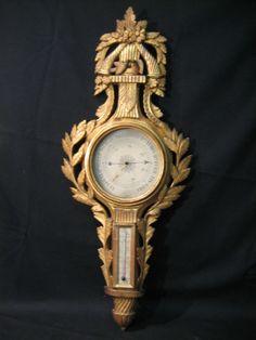 Louis XV Gilt-wood Barometer & Thermometer, c. 1760