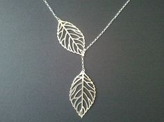 Autumn Leaves Gold Lariat  necklace - 14K Gold filled chain , leave pendant, christmas gift, cocktail jewelry on Etsy, $22.50