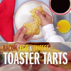 Inside this take on toaster tarts is a savory combination of bacon, eggs and cheese! Serve the tarts with condiments like hot sauce and mustard for dipping.