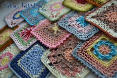 Lots of squares! Great in yarn too! Page is in Russian with diagram patterns.