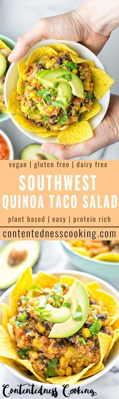 Tasty and simple: this Southwest Quinoa Taco Salad is entirely vegan and gluten free. Perfectly easy to make and packed with amazing flavors with black beans, salsa, and crunchy tortilla chips. Great for lunch, dinner, and an amazing prep meal. #vegan #glutenfree #salad #taco #southwest #food #prepmeal #lunch #dinner #tortilla