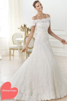 Dresses, Shotr Off Shoulder Scalloped Lace Wedding Gown: Costura 2014 Wedding Dresses Pre-Collection by Pronovias
