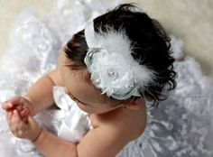 Flower Girl Headband Baby Headband Fascinator in Silver and White Photo Prop. $20.00, via Etsy.