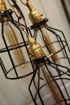 Industrial wire cage lamps InteriorCreationsJen