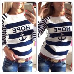 ‼️Back in stock‼️ Anchor sweater Blue and white striped anchor sweater, it's light weight and soft on the inside! Runs small, sizes M-L available! Do not purchase this listing I will create one for you! Sweaters Crew & Scoop Necks