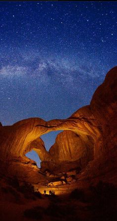 Double Arch and Milky Way stars at Arches National Park, Utah, USA , from Iryna