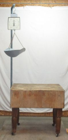 Chopping Block Wood Table Top Legs Hanging Scale by TheOldGrainery