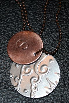 Monogrammed Metal Embossed Necklace. $23.00, via Etsy.