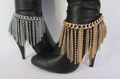 Gold / Silver Fringes Rhinestones Metal Heel Shoe Thin Long Boot Chain – alwaystyle4you