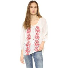 PAMPELONE Graniers Blouse (2520925 BYR) ❤ liked on Polyvore featuring tops, blouses, peasant blouse, embroidered blouse, gauze blouse, scoop neck blouse and pink blouse