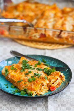 This sauce is killer! Pumpkin & Chicken Enchiladas Recipe | cookincanuck.com #chicken #enchiladas from @Mrs.Miller' Canuck | Dara Michalski