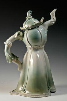 Artist: Amy Webber Title: The Queens Dress Studio Location: Sarasota, FL Ceramic Teapots, Ceramic Pottery, Cute Teapot, China Teapot, Teapots Unique, Tea Glasses, Cuppa Tea, Tea Pot Set, Teapots And Cups