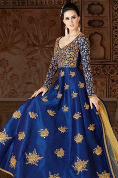 Royal Blue Art Silk Anarkali Suit With Dupatta - DMV15318