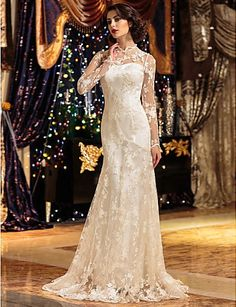 Plus Size Wedding Dress A-line/Princess High Neck Sweep/Brush Train Lace Easebuy! Free Measurement!