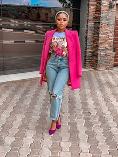 Pink Blazer Outfits, Cute Casual Outfits, Stylish Outfits, Black Blazer Outfit Casual, Fashion Outfits, Look Rose, Looks Black, Classy Casual, Black Women Fashion