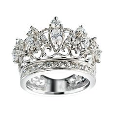 Detailed design silver and diamond Crown ring