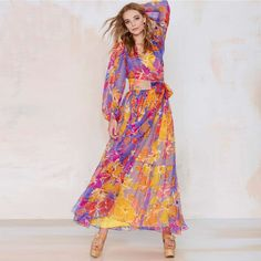 New Arrival 2016 Women Dress Summer V-neck Long Chiffon Dress Floral Print Elegant Gorgeou Kimono Fashion Maxi Dress Beach Dress