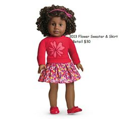 American Girl Doll Brand Flower Sweater & skirt
