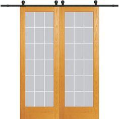 Milliken Millwork 60 in. x 96 in. Clear 18 Lite V-Groove Unfinished Pine Double Barn Door with Sliding Door Hardware Kit