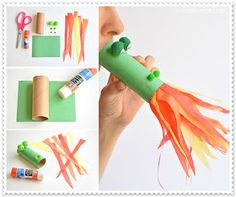 This fire breathing, toilet paper roll dragon is SO MUCH FUN! Blow into the end, and it looks like flames are coming out of the dragon& mouth! Such a cute craft idea for a rainy day! New Year's Crafts, Easy Crafts For Kids, Cute Crafts, Toddler Crafts, Crafts To Do, Diy For Kids, Children Crafts, Chinese New Year Crafts For Kids, Craft Kids