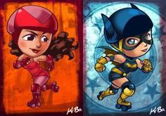 DC VS Marvel Roller Derby: Scarlet Witch/Batgirl by kevinbolk