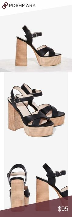 NIB Nasty Gal Gretchen platform sandals NIB Nasty Gal Gretchen platform sandals by Shellys London. Sold out online. comfortable w/platform & chunky heels! Genuine black leather w/ criss cross straps at open toe, adjustable ankle strap, & neutral-colored stacked heel & platform. Like Free People, Jeffrey Campbell, Bebe, Miu Miu, Sam Edelman, Alice + Olivia, Chinese Laundry, Michael Kors, Steve Madden, Madden Girls, Urban Outfitters, Anthropologie. Size is 37 which translates to 7 on Nasty Gal…