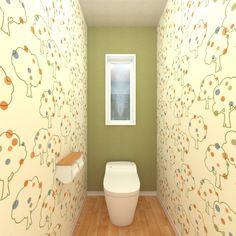 かわいい木のイラストが施された壁紙をやわらかいグリーン系統でまとめました。 Small Toilet, Curtains, Shower, Bathroom, Interior, Prints, Architecture, Design, Home Decor