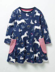 Tunic  2 3 4 5 6 7 8 9 10 11 12   Blue Multi Mini Boden  Mermaid Print Dress