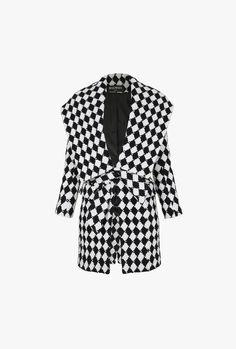 Checked wool belted coat   Women's coats   Balmain