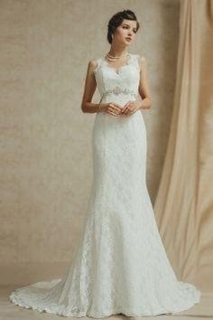 Meerjungfrau langes ivory Empire Brautkleider aus Spitze