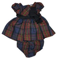 NWT Ralph Lauren Polo Baby Girls Taffeta Plaid Party Puff Sleev Dress & Bloomer  #RalphLauren #DressyEverydayHolidayPageantWedding