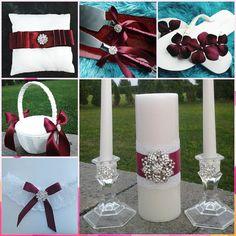 autumn fall burgandy maroon rhinestone wedding bride groom garter, flower girl basket and ring bearer pillow, cake server set, flip flops