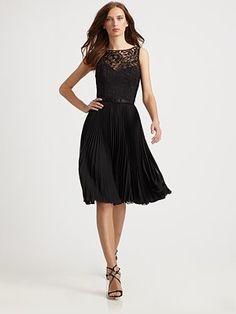 Theia - Pleated Lace Dress - Saks.com  495