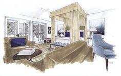 Palm Springs Bedroom, Michelle Morelan Design and Rendering