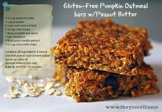 Gluten-Free Pumpkin Oatmeal Bars with Chocolate & Peanut Butter