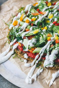 Raw Vegan Pizza with Butternut, Flax and Sunflower Seed Crust