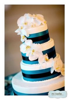 blue ribbon and orchid wedding cake. the-cake