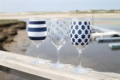 Nautical Wine Glass Set of 3 Gifts For Wine Drinkers, Wine Gifts, Wholesale Home Decor, Wine Glass Set, Coastal Decor, Seasonal Decor, Home Accessories, Nautical, Tableware