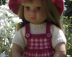 "Picnic in the Park - PDF Doll Clothes knitting pattern for 18"" Kidz n Cats Doll"