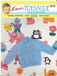Emu 8659 baby cardigan vintage knitting pattern PDF by Ellisadine, Baby Knitting Patterns, Baby Patterns, Knitting Yarn, Vintage Patterns, Crochet Patterns, Cardigan Pattern, Baby Cardigan, Vintage Knitting, Double Knitting