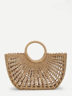 To find out about the O-Ring Handle Straw Bag at SHEIN, part of our latest Shoulder & Tote Bag ready to shop online today! Ring Der O, Straw Tote, Basket Bag, Knitted Bags, Nantucket, Purses And Bags, Tote Bag, Designer Bags, Designer Handbags