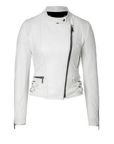 Women's Biker Style brando White Fashion Leather JAcket With stylish design  #Handmade #BasicJacket