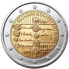 N♡T.2 euro: 50th Anniversary of the Austrian State Treaty.Country:	Austria  Mintage year:	2005 Issue date:	11.05.2005 Face value:	2 euro Diameter:	25.75 mm Weight:	8.50 g Alloy:	Bimetal: CuNi, nordic gold Quality:	Proof, BU, UNC Mintage:	7 mil. pc