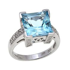 Colleen Lopez 5.08ctw Princess-Cut Blue Topaz and White Topaz Sterling Silver R - 8366609 | HSN