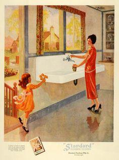 1925 Ad Standard Sanitary Plumbing Fixtures Kitchen Mom - ORIGINAL HG1 - Period Paper