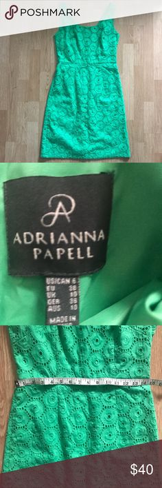Adriana Papell Eyelet Dress Size 6 Adriana Papell Green Eyelet Dress Size 6  Green belt included  Gently used in good condition   *please note* No Modeling, no trades, no transactions off of Posh   Thanks for checking out my closet. Adrianna Papell Dresses